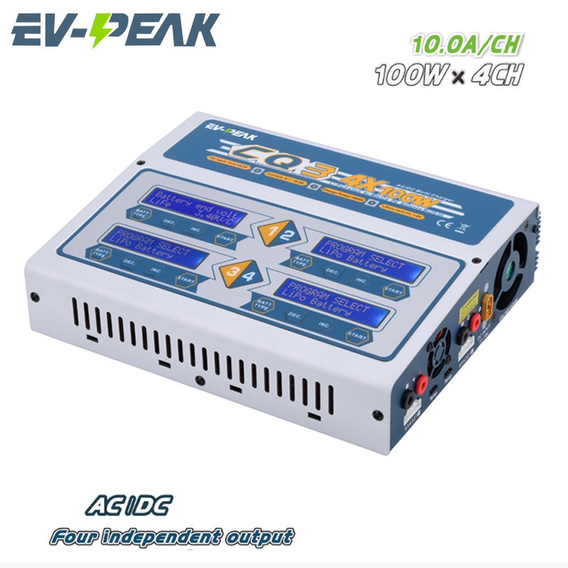 FPV Quad charger10a*4 EV-PEAK CQ3 Balance charger discharger AC/DC input 11-18V 100Wx4CH