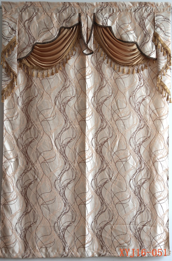 Luxurious European mobile home jacquard curtain attached with valance