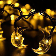 4.8m 20 moon shape leds ramadan decorations solar power string lights