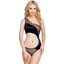 2018 Manufacturer Tempting One Piece Teddy Lace Splicing One ShoulderFtv Midnight Hot Lingerie Babydoll