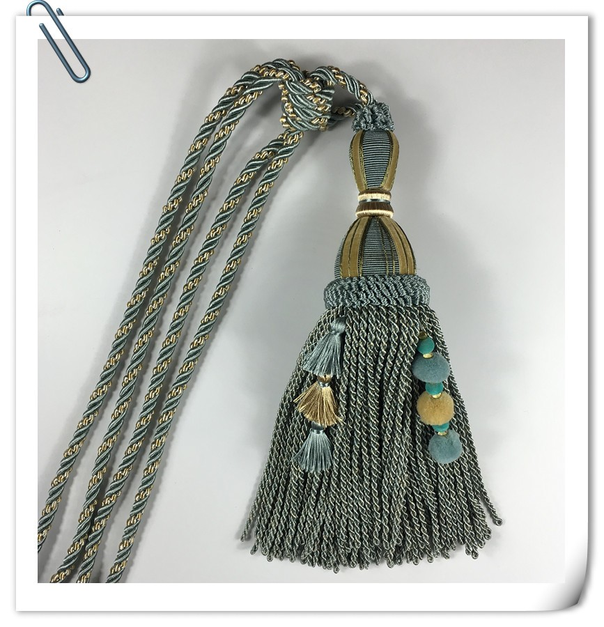 2017 Fancy long cord tassel tieback hook for curtain accessory