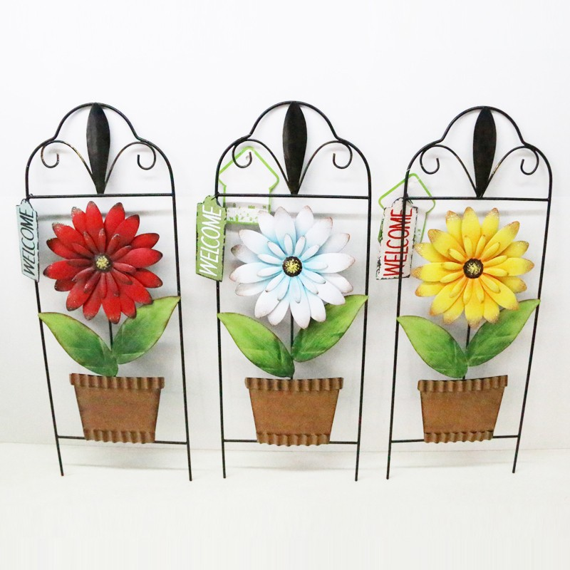 arts crafts metal flower pot home decor <strong>wall</strong> hanging