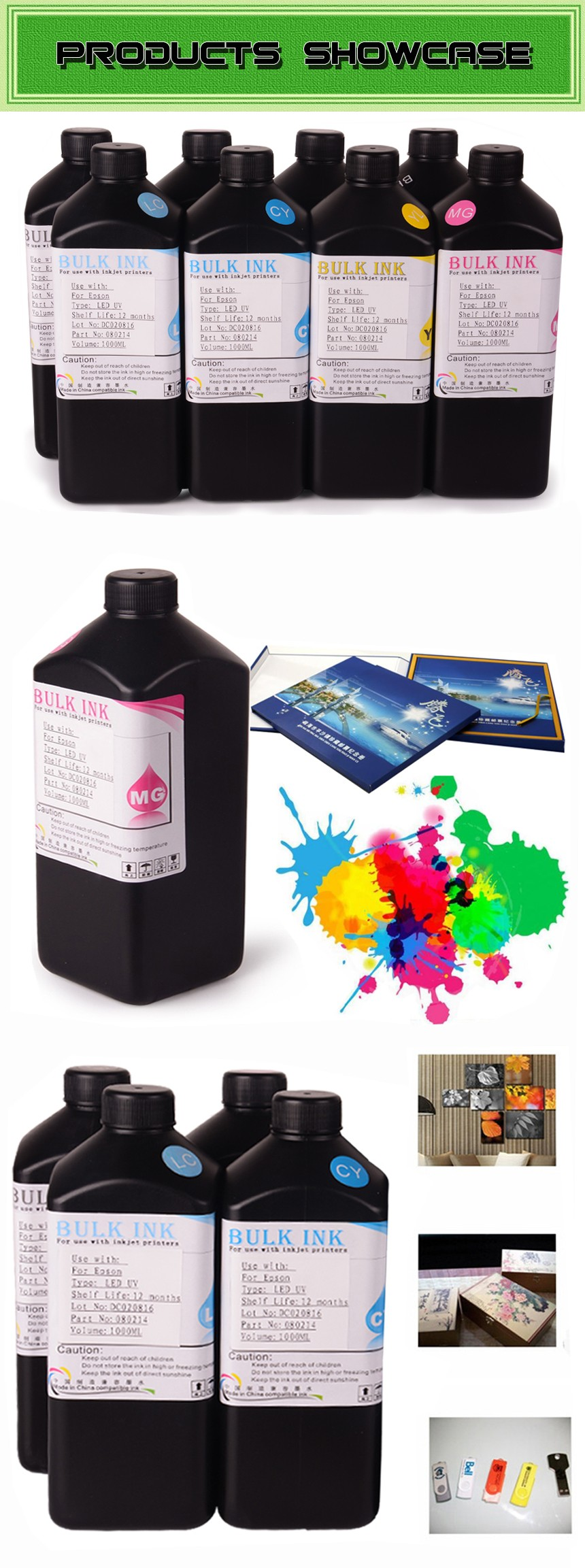 ocbestjet Best Quality Waterproof Offset Printing LED UV Curable Ink for Epson rx580 rx680 rx595 Flat Printer
