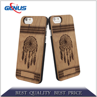 Mobile accessories factory custom engraving design pc/tpu wooden cell phone case for iphone 6/6 plus