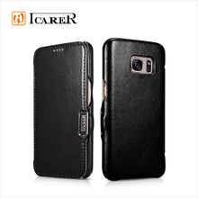 ICARER Luxury Genuine Leather Wallet Filp Cover Case For Samsung Galaxy S7