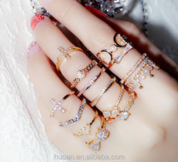 Gold plated rings tiara design hot sale cheap price zircon rings