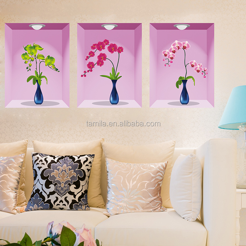 3D Simulation Vases Three-Dimensional Decorative Wall Stickers Living Room Entrance Autocollant Mural Wall Sticker Flower
