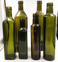 250ml empty dark green glass coconut Square olive oil bottles round shape with screw cap capsule