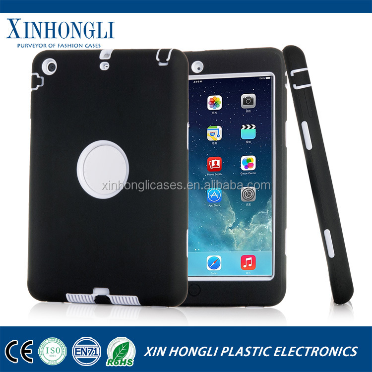 2017 Hot Fashion Dual Color 3 in 1 Hard Shield Silicone & Plastic Case For iPad Mini 1/2/3 Retina Hybrid Robot Armor Cover