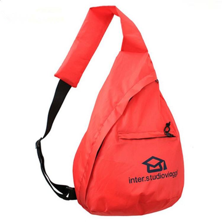 Korean style travel hiking dual-use package promotion polyester sports oblique backpack