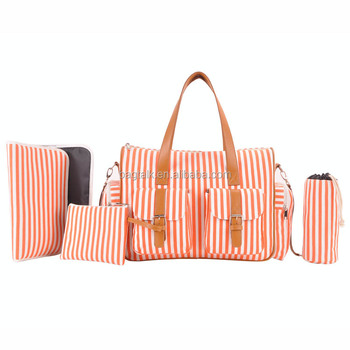 TM1632 New Stylish Striped Baby Diaper Bags Factory Price Mum Baby Bag
