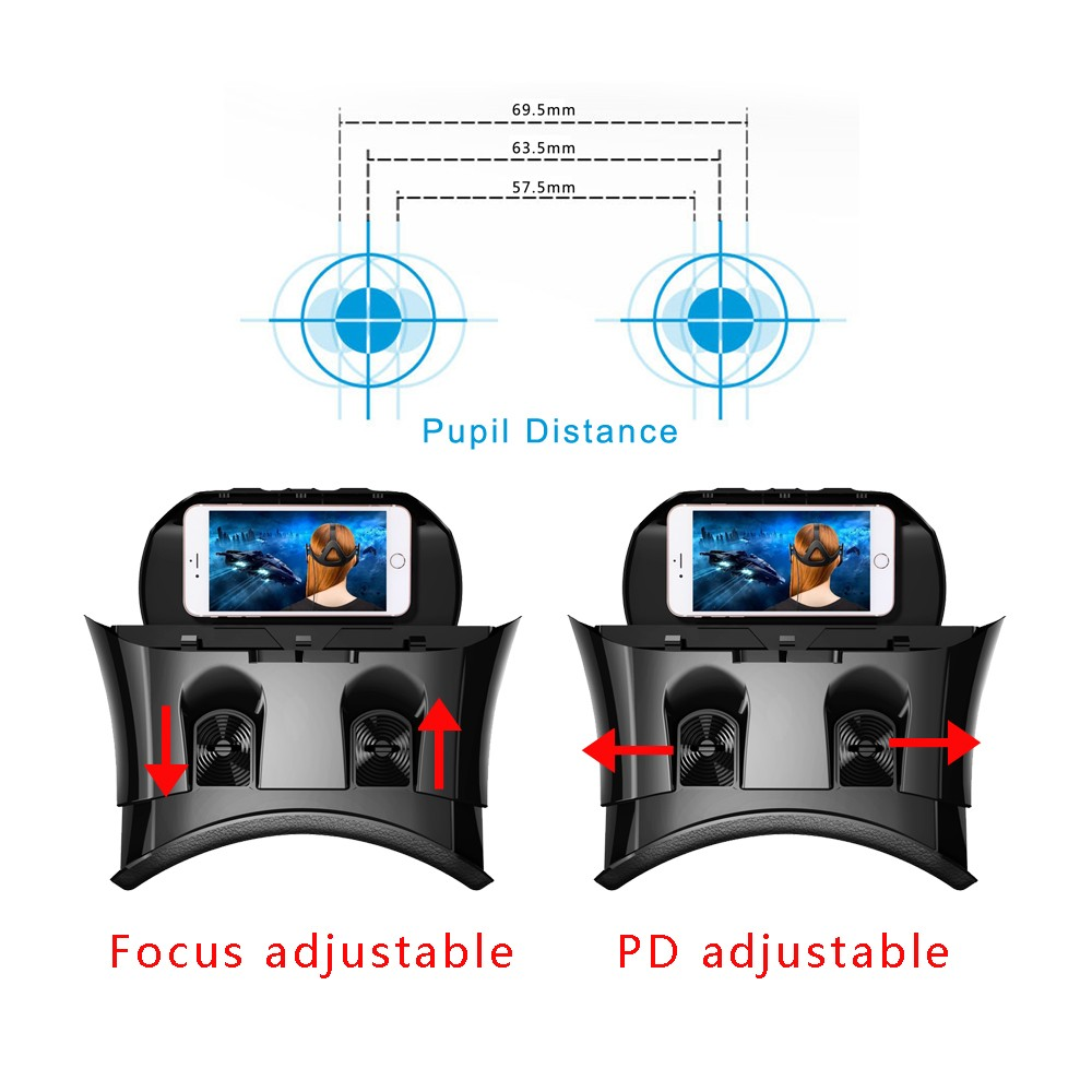 NEWEST!Hot selling Virtual Reality VR headset VR PRO 3D glasses for 3.5-6.2 inch Mobile