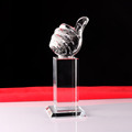 Noble lasering design crystal thumbs up trophy