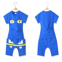 TB005 Kids Clothing Sets Korean Design Casual Sports Cartoon Pattern Children Clothes