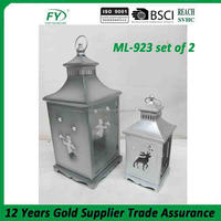 Best Handmade christmas and wedding metal candle lantern with deer decoration ML-923 set of 2