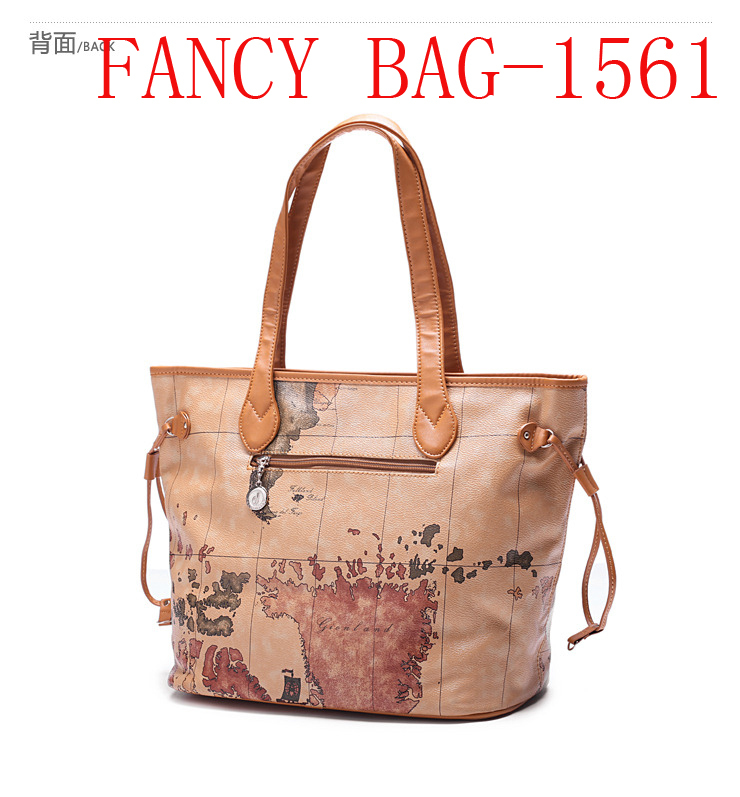 Women Handbag Shoulder Bags world map Faux Leather Messenger Bag