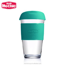travel coffee mug 16oz reusable office single wall glass drinking cup with green wrap