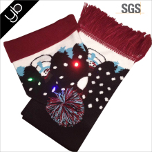 Wholesale hand knitting custom led winter scarf and hat snowman with led light/ Christmas snowman scarf