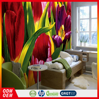 customized printing red lily picture wallpaper for spa decoration
