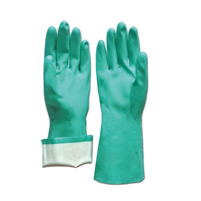 NMSAFETY 15 mil green nitrile flocklined diamond grip palm nitrile <strong>gloves</strong>