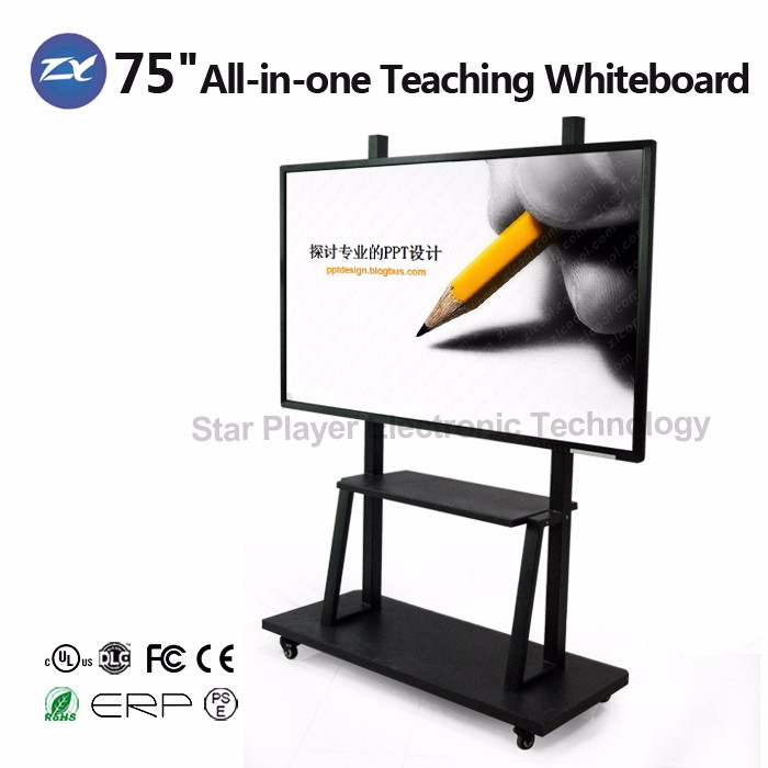 2017 Newest!! 55''65''84'' FHD Smart Touch Screen Portable Interactive Whiteboard All in One PC For School Teaching/Net Meeting