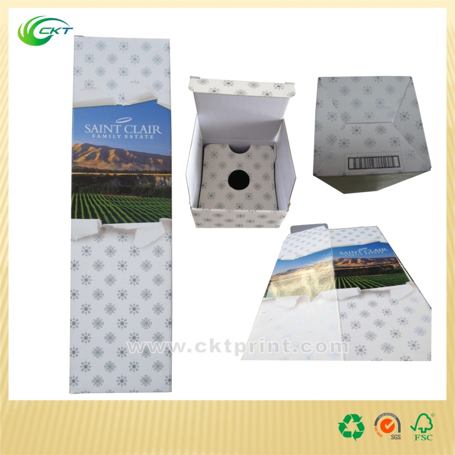 popular logo printed corruageted paper wine box, carboard box for one bottle