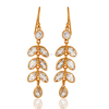 Gold Plated Crystal Quartz Dangler Earring, 925 Silver Bezel Setting Crystal Earring Jewelry