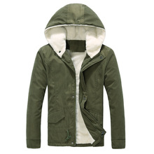 Hooded thick warm winter Korean version of cultivating cotton velvet jacket male foot factory direct shipment