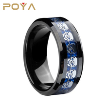 POYA Jewelry 8mm black blue tungsten carbide ring silver skull skeleton Inlay wedding band men Jewelry