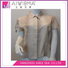 2017 Ladies's Polyester Yarn Dyed Casual Wear Short Sleeve Shirt