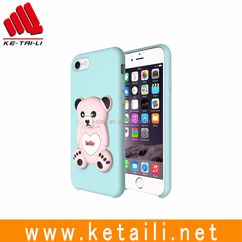 For iPhone 7 3D bear oem liquid silicone mobile phone cellphone case cover factory