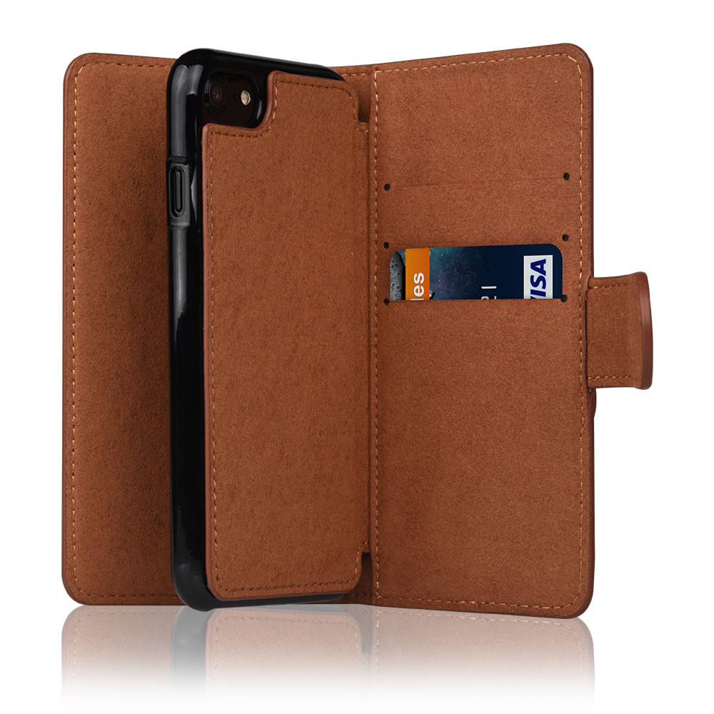 C&T Brown Leather Phone Case Flip Cover Wallet Card Case for iPhone 7