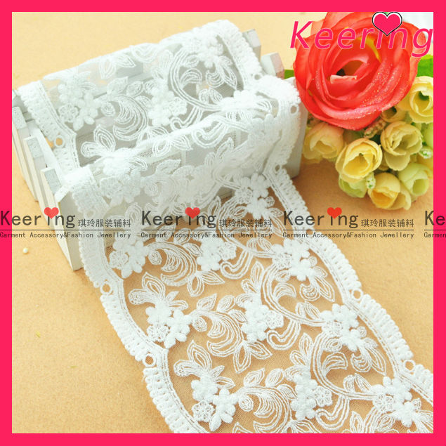 Bridal accessory tiny flower cotton lace motif wide lace trimming WLC-118