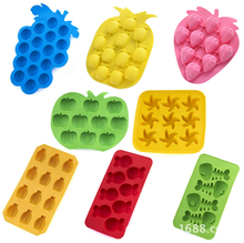 pineapple, apple, strawberry, banana, grape, five-pointed star,small fish and fish bones, fruit shape silicone ice cube tray