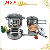 8pcs belly shaped stainless steel copper bottom cookware