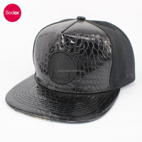 SEDEX CAP leather 6 panel snapback caps with 3D embroidery,promotional baseball cap