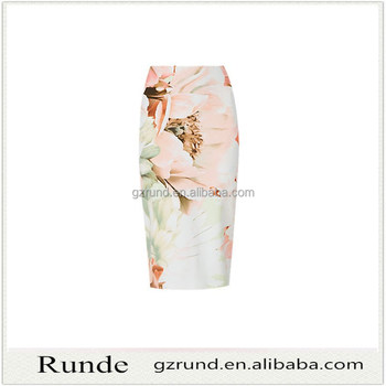 latest skirt design pictures floral Print Midi Skirt fitted pencil skirt