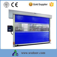 automatic workshop fast rolling up door with pvc strip clear window