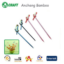 High quality eco-friendly colored ring disposable bamboo skewers for fruits and vegetables