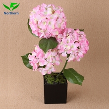 China Supplier beautiful design best quality fake rose hydrangea floral flower ball centerpiece with pot