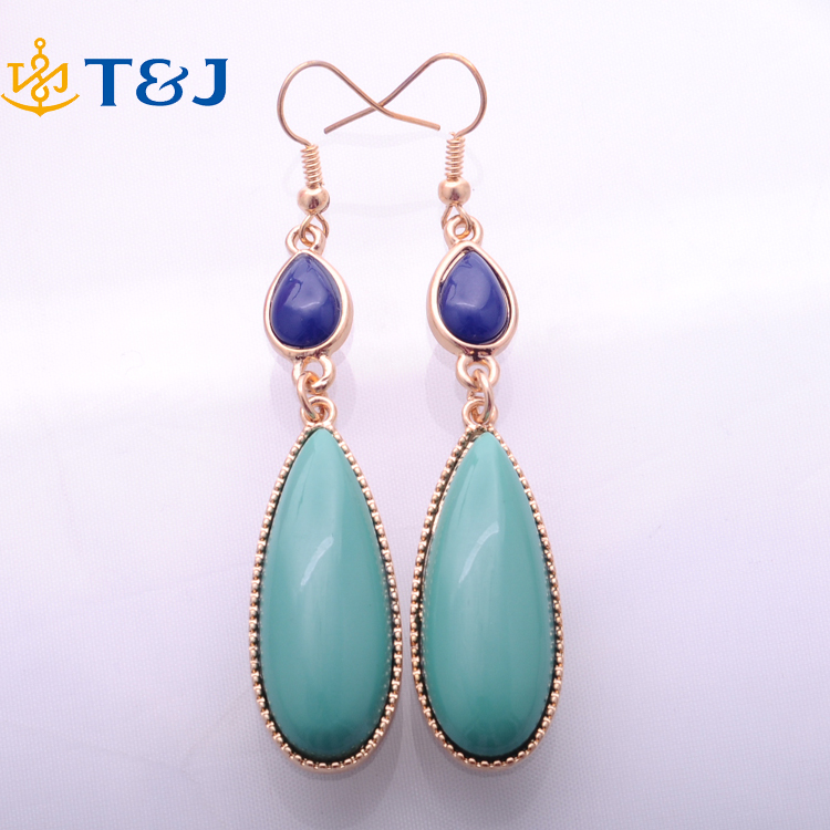 2016 Wholesale Tear Gold Turquoise vintage exotic drop dangle fashion earrings wholesale Jewelry for girls