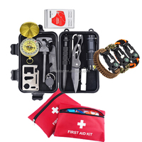 11 in 1 Emergency Gear Items Outdoor Camping Equipment: Survival Paracord Bracelet, First Aid Kit, Survival Kit