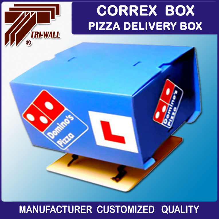 corrugated plastic pizza food delivery box for scooter