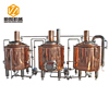 luxury and hot sale micro 500l 3-vessel brewhouse copper beer brewing equipment for bar or hotel