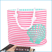 Custom printed promotional stripe cotton canvas tote bag