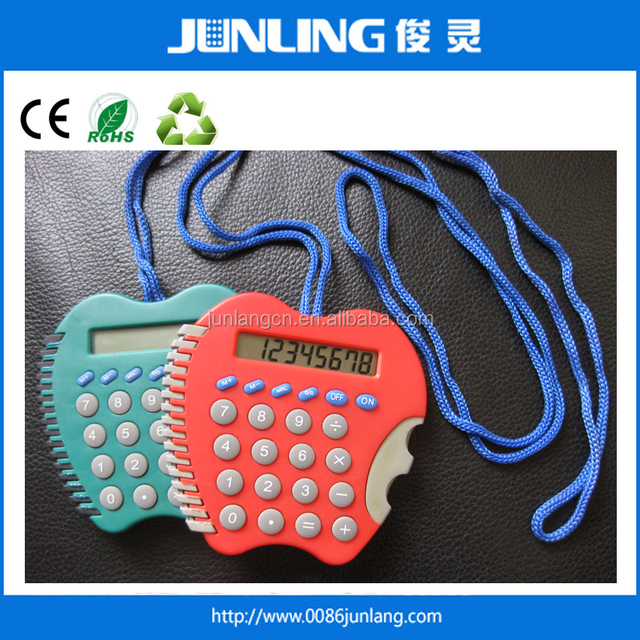 8 digit electronic calculator promotional apple shaped calculator with Lanyard