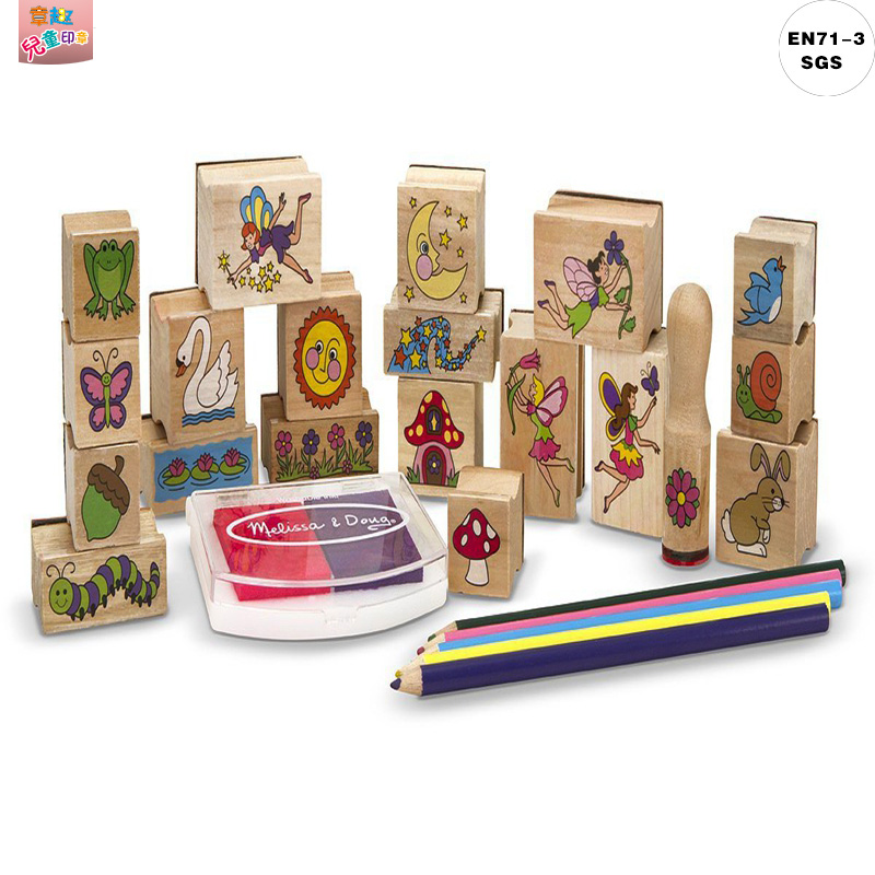 Zhang qu Fairy Garden - 20 Wooden Stamps 5 Colored Pencils 2-Color Stamp Pad