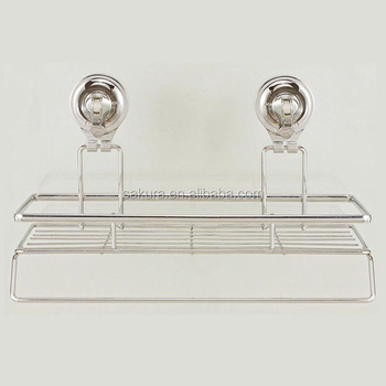 Metal wire with chrome plated bathroom accessory rack Shower Caddy VACUUM SUCTION BI-3004