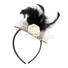 Sexy leopard mini hat party hairbands black feather decoration mini hat fascinators