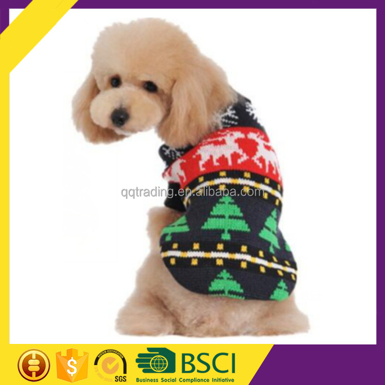 Winter knitted wool design holiday casual ugly christmas pet dog sweater
